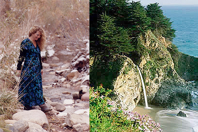 elizabeth walking and Big Sur waterfall, clients praise for elizabeth burke's work