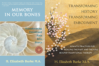 memory in our bones and transforming history book covers, elizabeth burke's books on transformational healing